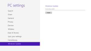 Windows Update 0 percent dialog from pc settings