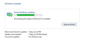 Windows Update 0 percent dialog